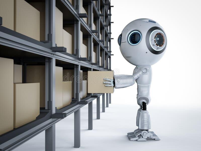 Mini robot con la caja ilustración del vector