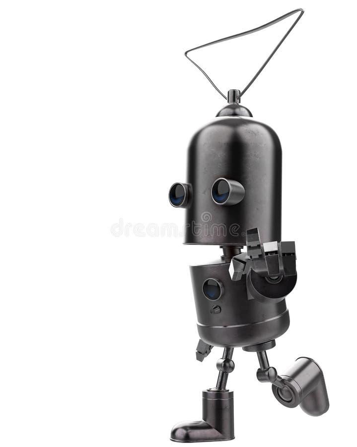 Mini robot del hierro en un fondo blanco stock de ilustración