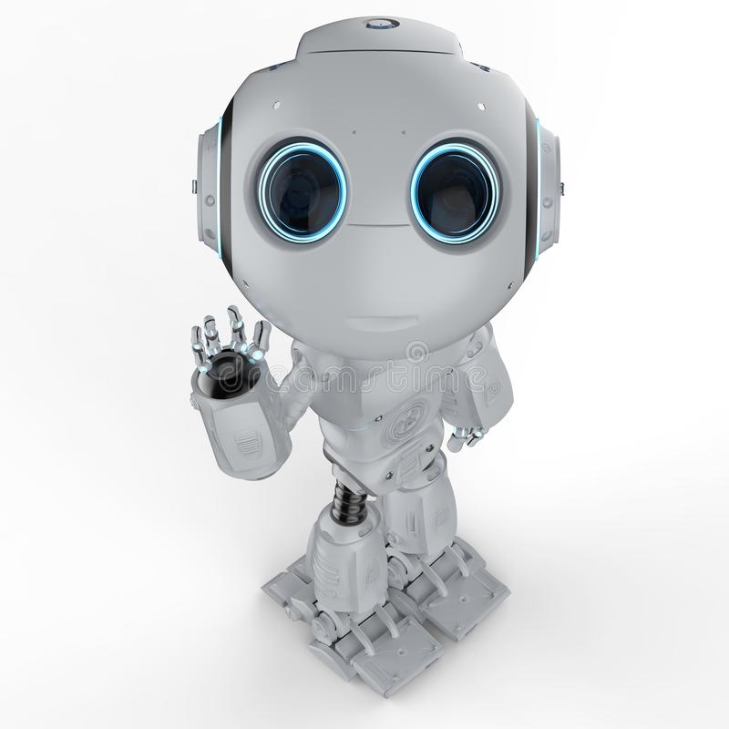 Mini robot hand up vector illustration