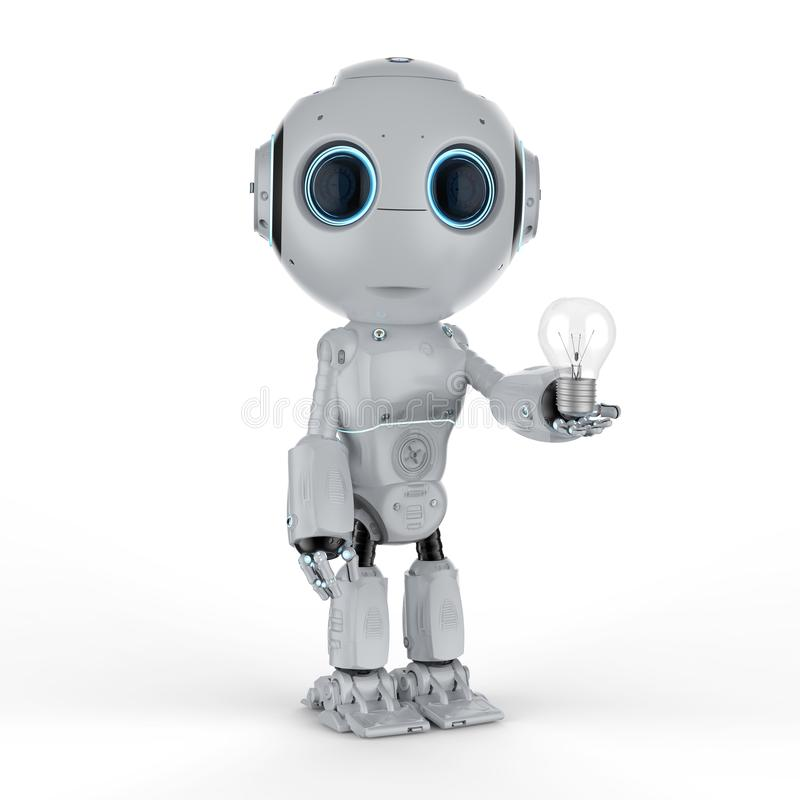 Mini- robot med lightbulben royaltyfri illustrationer