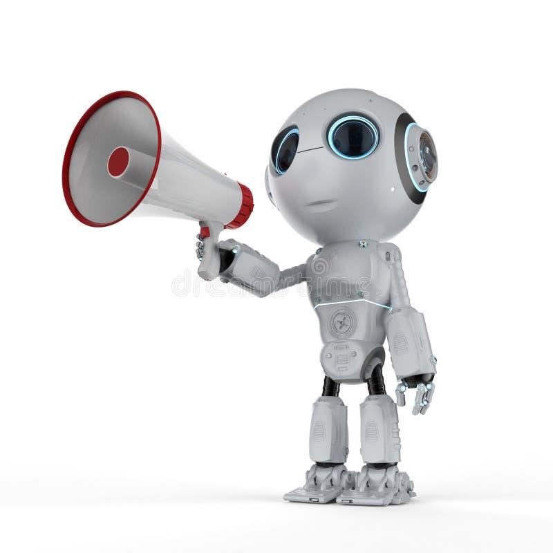 Mini- robot med megafonen stock illustrationer