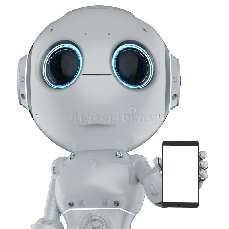 Mini- robot med mobilen royaltyfri illustrationer
