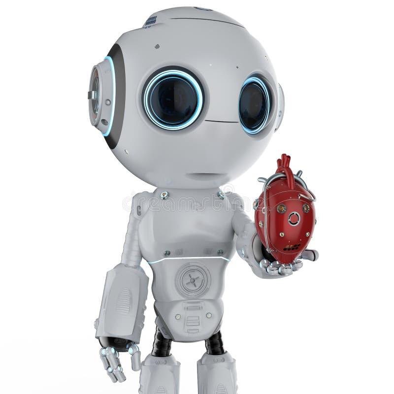 Mini- robot med robotic hjärta royaltyfri illustrationer