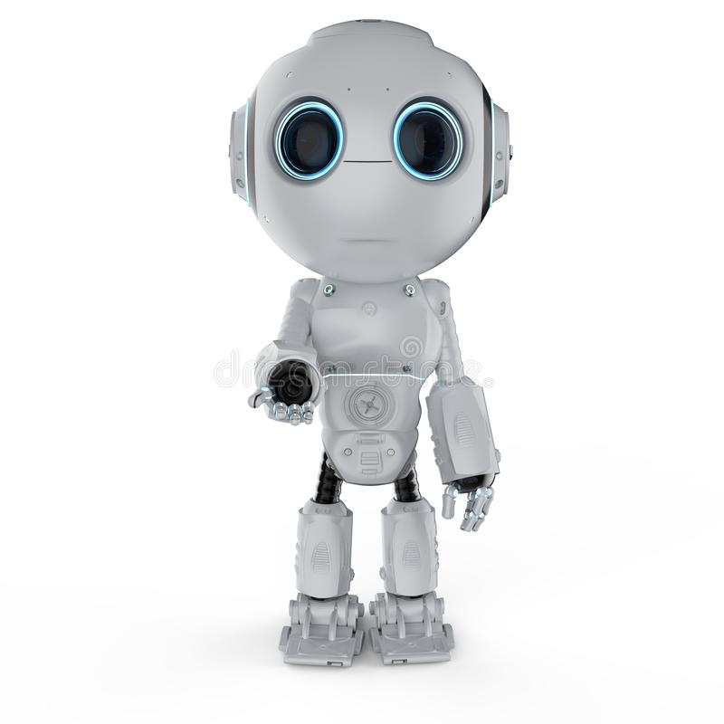 Mini robot open hand stock illustration