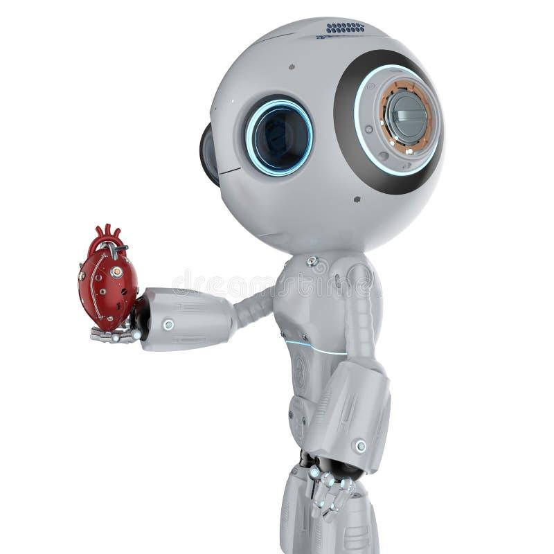 Mini robot with robotic heart vector illustration