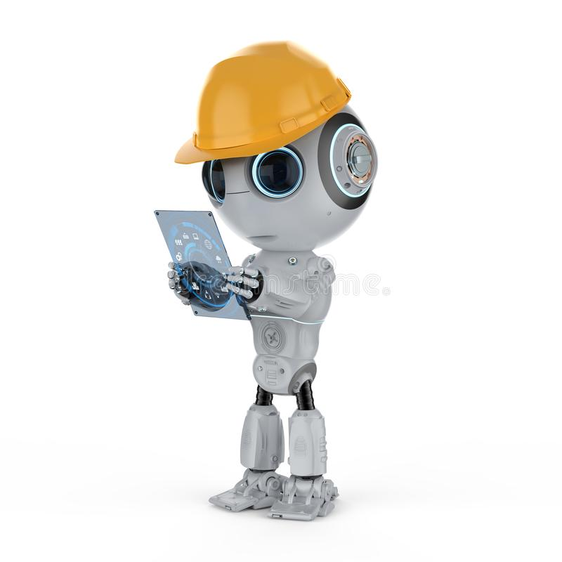 Mini robot with tablet royalty free illustration