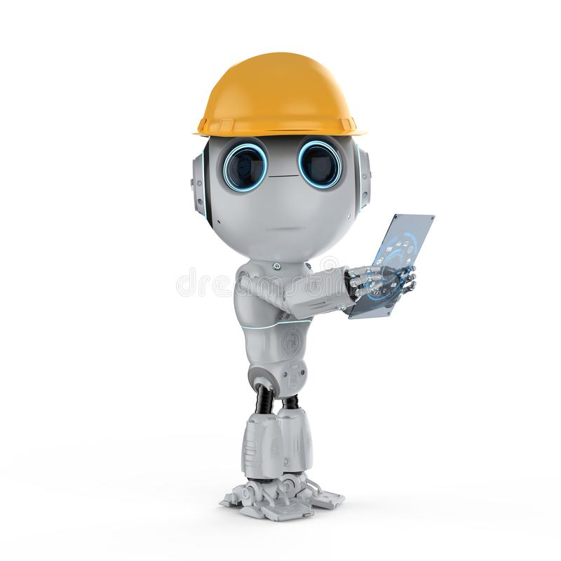 Mini robot with tablet stock illustration