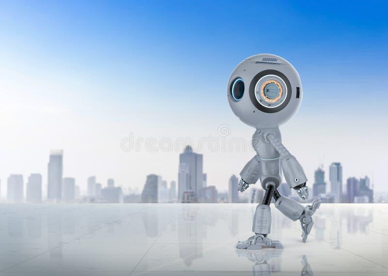 Mini robot walk royalty free illustration