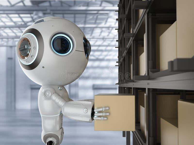 Mini robot z pudełkiem royalty ilustracja