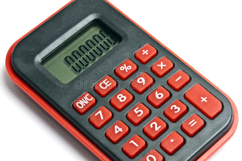 Mini rode calculator die op wit wordt geïsoleerd royalty-vrije stock fotografie