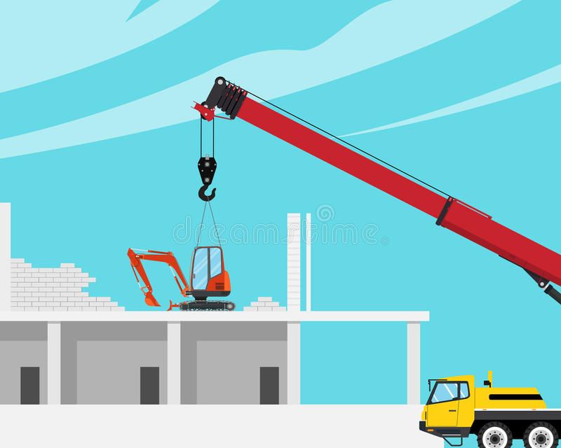 Mini roof excavator. A mini excavator was placed on the roof of the house with a crane to break the house. Vector illustration royalty free illustration