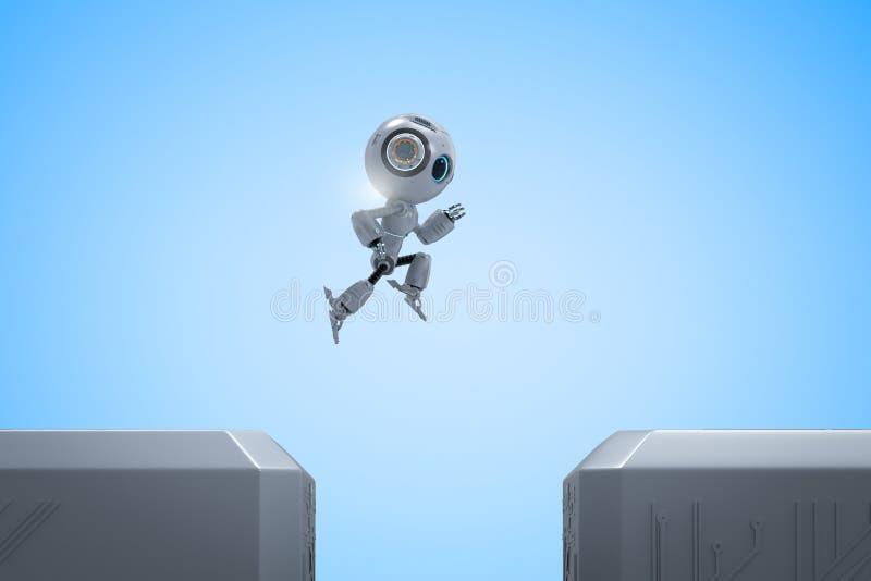 Mini salto del robot attraverso illustrazione di stock