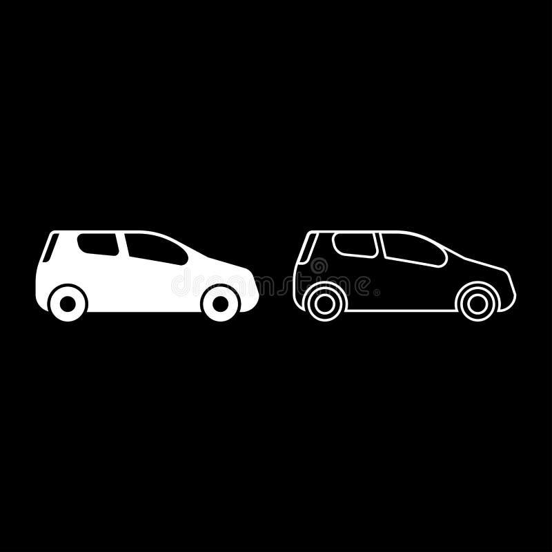 Mini samochodowy Ścisły kształt dla podróży ikony koloru ilustracji mieszkania bieżnego ustalonego białego stylu prostego wizerun royalty ilustracja