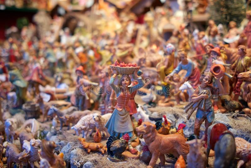 A mini sculptures in Christmas market Vienna, Austria. stock photo