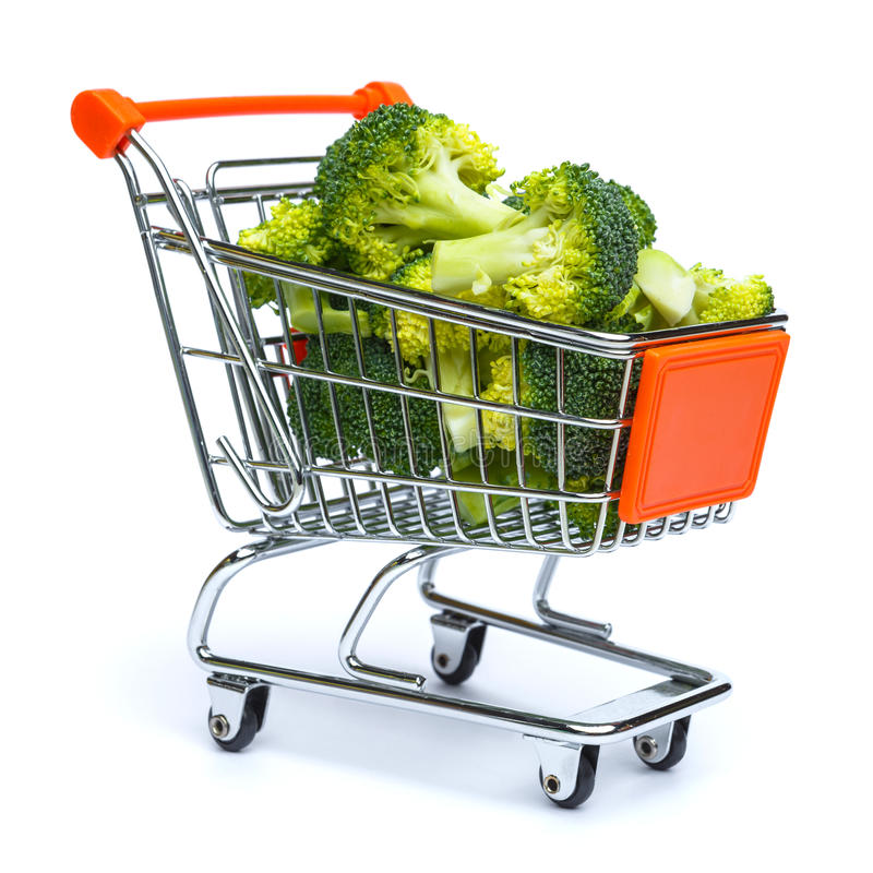 Mini shopping cart full with broccoli royalty free stock image