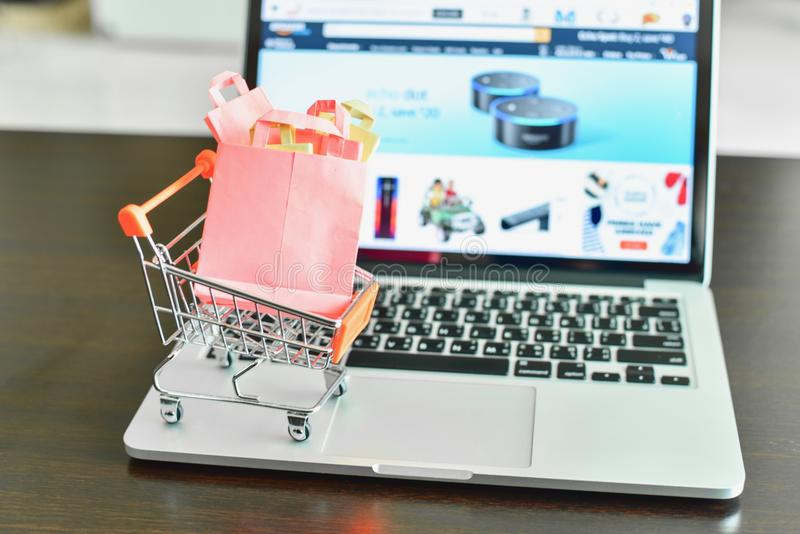 Mini Shopping Cart med Mini Shopping Bags på bärbara datorn med denkommers websiten på skärmen arkivbild