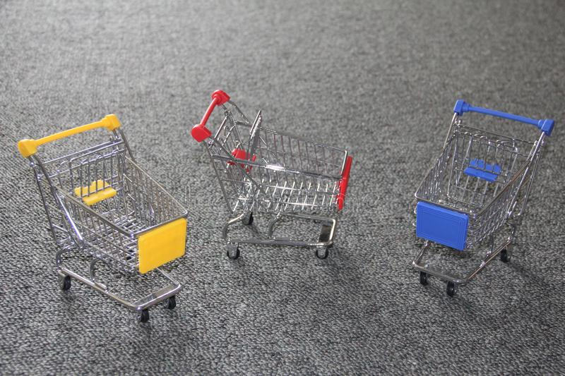 Mini shopping cart set of 3 royalty free stock images