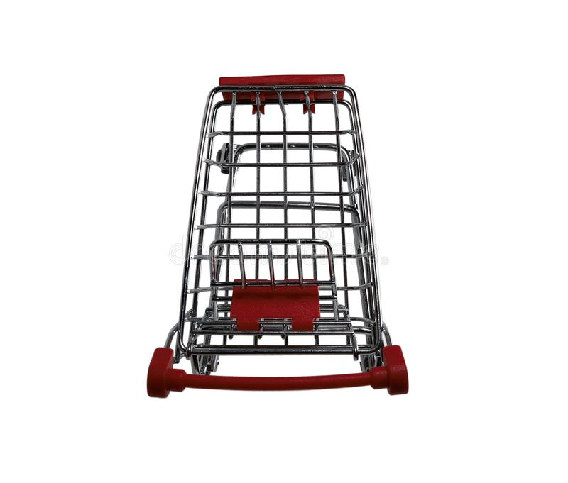 Mini Shopping Cart Top-Down View Isolated On White royalty free stock photography