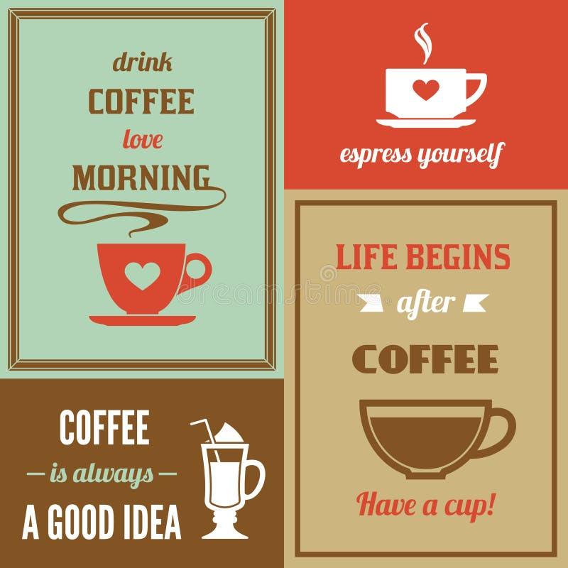 Mini sistema del cartel del café ilustración del vector