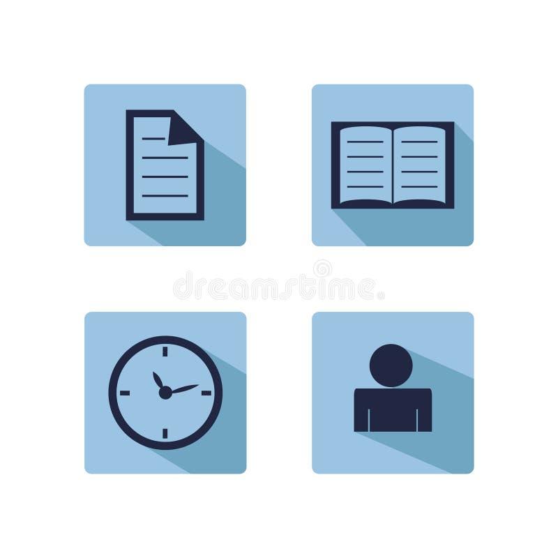Mini sistema en línea del márketing, de la publicidad, el copywriting y del seo de iconos planos ilustración del vector