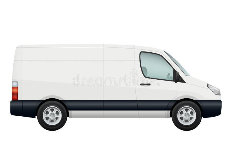 Mini- skåpbil bil Sidosikt av den vita minivan för vektor som isoleras på vit royaltyfri illustrationer