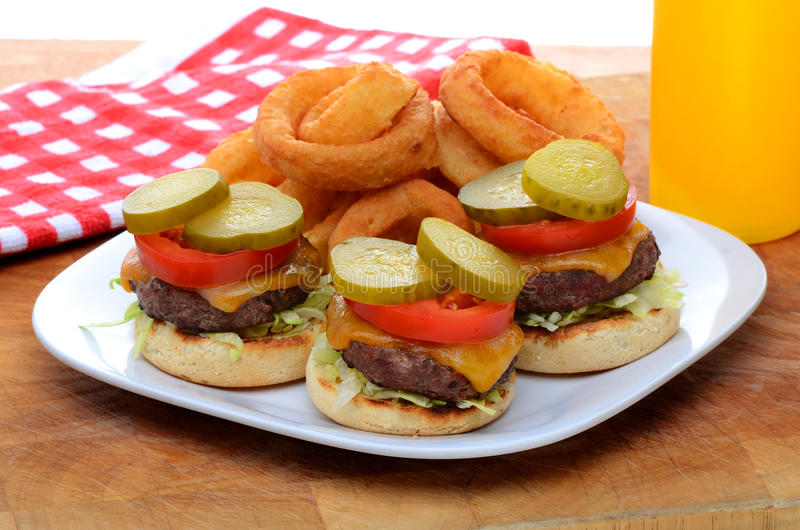 Download Mini Slider Cheeseburgers With Onion Rings Royalty Free Stock Photos - Image: 32191978