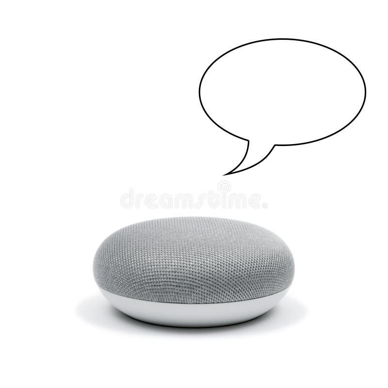 Mini Smart Speaker avec une bulle de la parole photographie stock