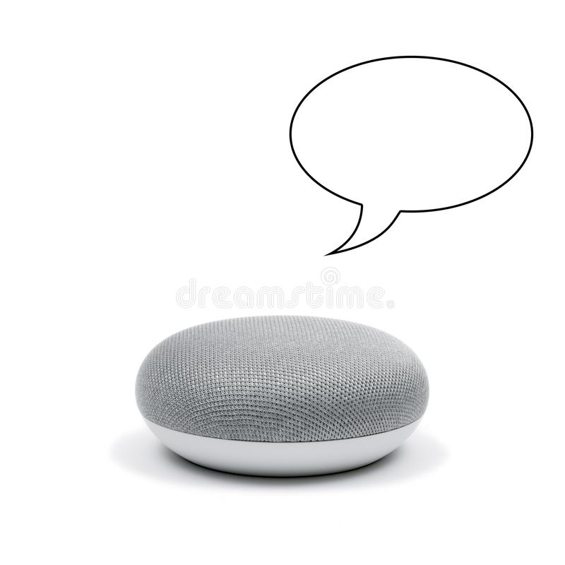 A Mini Smart Speaker with a speech bubble stock photography
