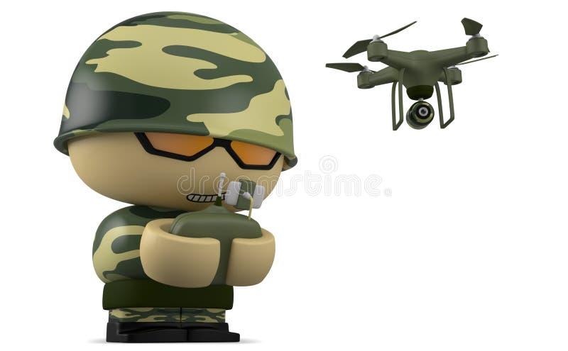 Mini soldado com zangão ilustração royalty free