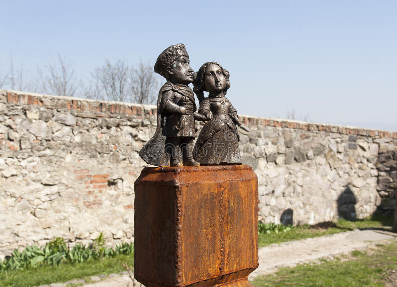Mini-statue of Countess Ilona Zrini and Count Imre Tekeli in castle Palanok photo, Mukachevo, Ukraine royalty free stock photo