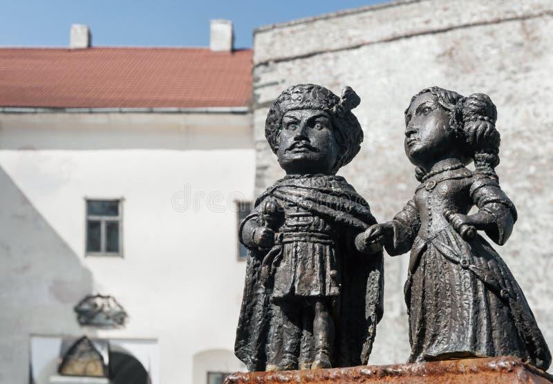 Mini-statues of castle Palanok, Mukachevo, Ukraine royalty free stock photos