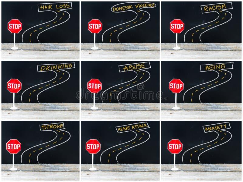 Mini- STOPPtecken på vägen, hand som drar över den svart tavlan stock illustrationer