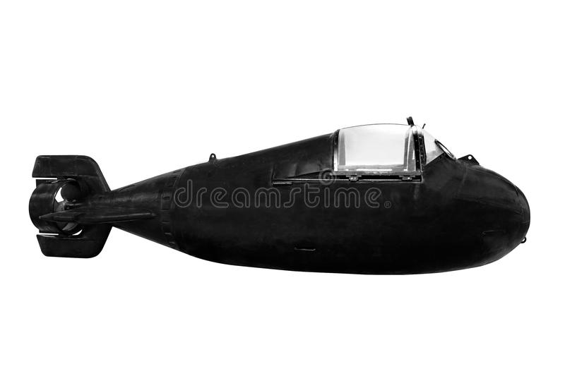 Mini submarine for special diversion operations isolated on white background royalty free stock images