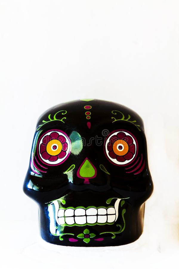 Mini Sugar Skull Front View preto imagem de stock