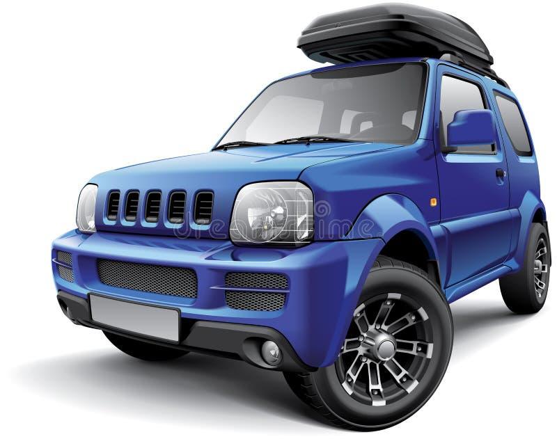 Mini SUV campo a través asiático con el bolso del tejado stock de ilustración