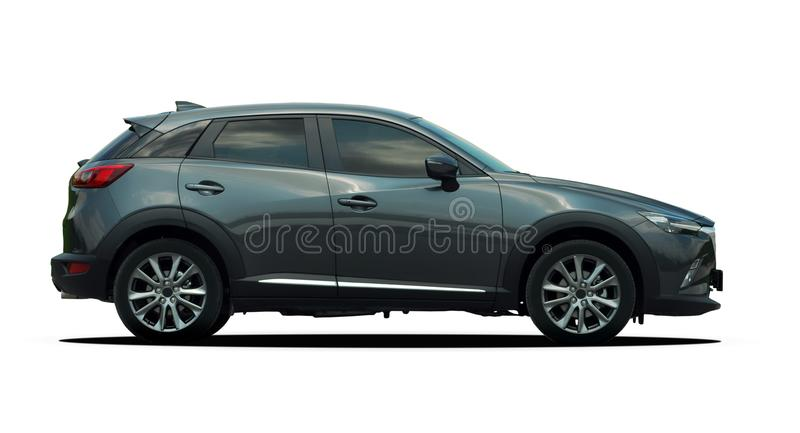 Mini SUV side view, crossover. Gray mini SUV on a white background, crossover stock photography