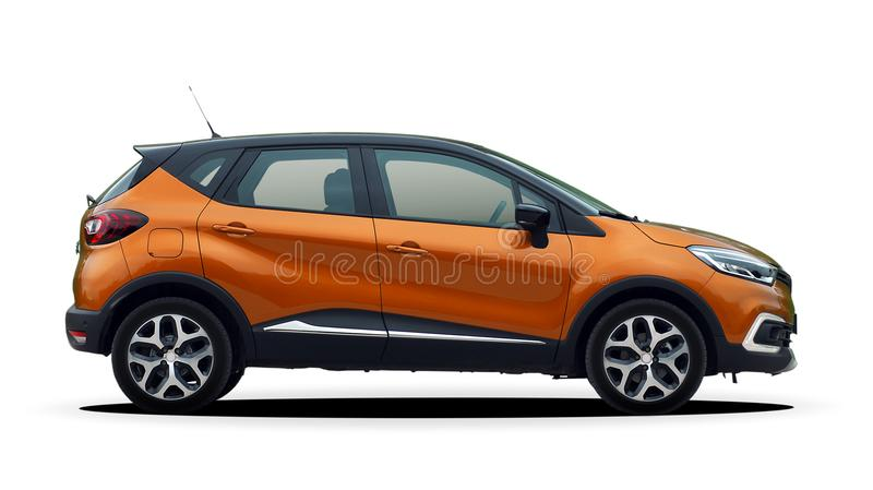 Mini SUV side view, crossover. Orange mini SUV on a white background, crossover royalty free stock images