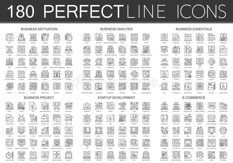 180 mini symboles d'icônes de concept d'ensemble de motivation d'affaires, analyse commerciale, bases d'affaires, projet d'affair illustration libre de droits