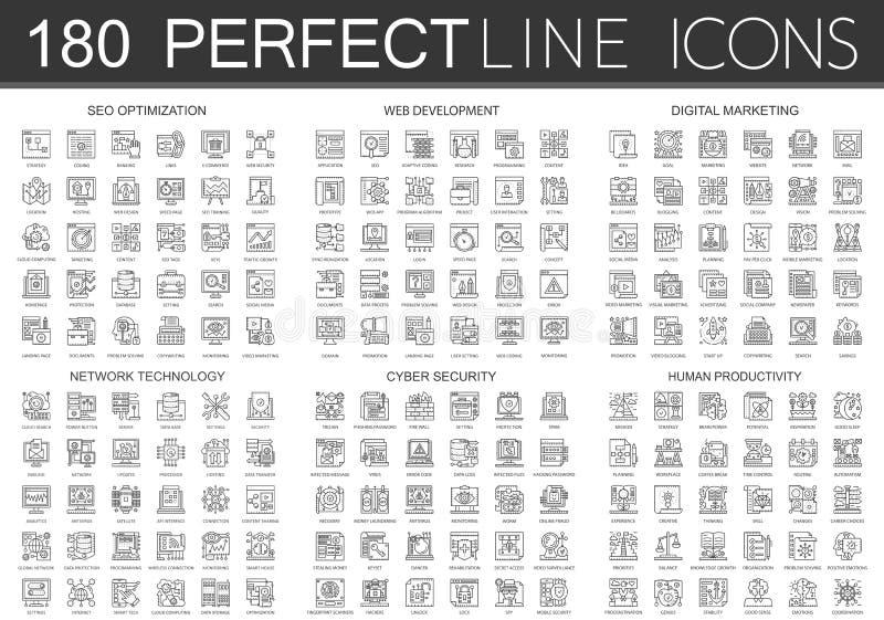 180 mini symboles d'icônes de concept d'ensemble d'optimisation de seo, développement de Web, vente numérique, technologie de rés illustration libre de droits