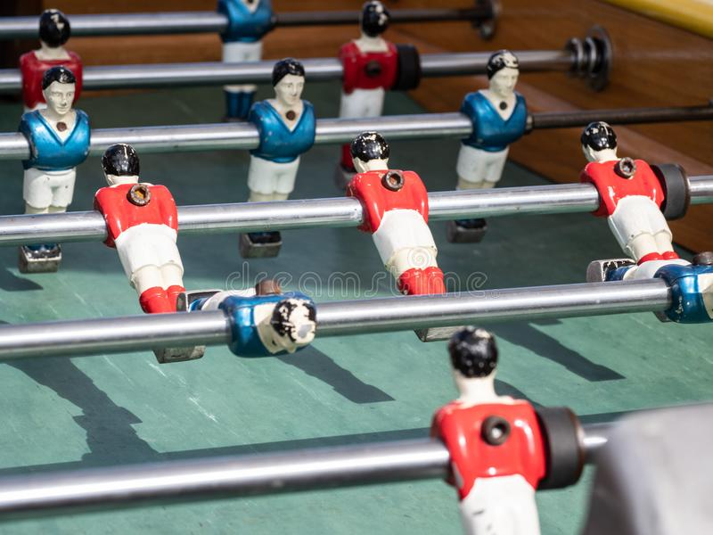 Mini tabela de jogo do futebol no fim acima da vista imagem de stock royalty free