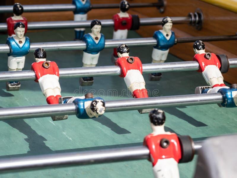 Mini tabla de partido de fútbol en cierre encima de la visión imagen de archivo libre de regalías