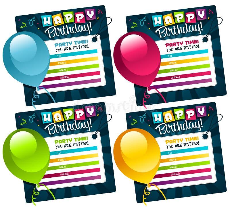 Mini tarjetas de cumpleaños stock de ilustración