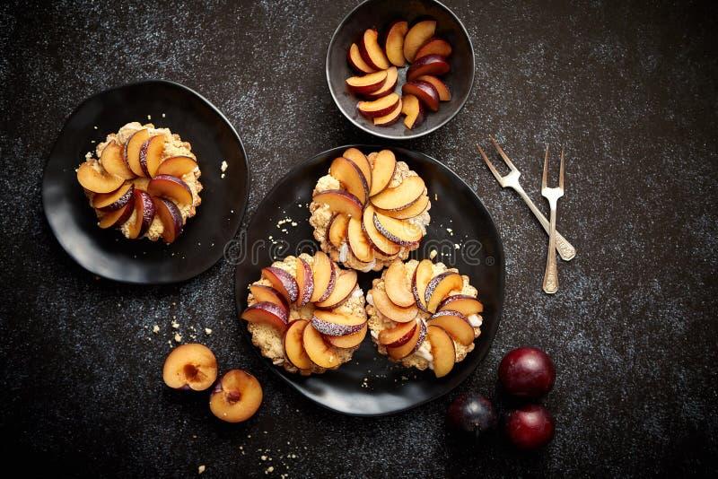 Mini tartas hechas en casa deliciosas con la fruta cortada fresca del ciruelo imágenes de archivo libres de regalías