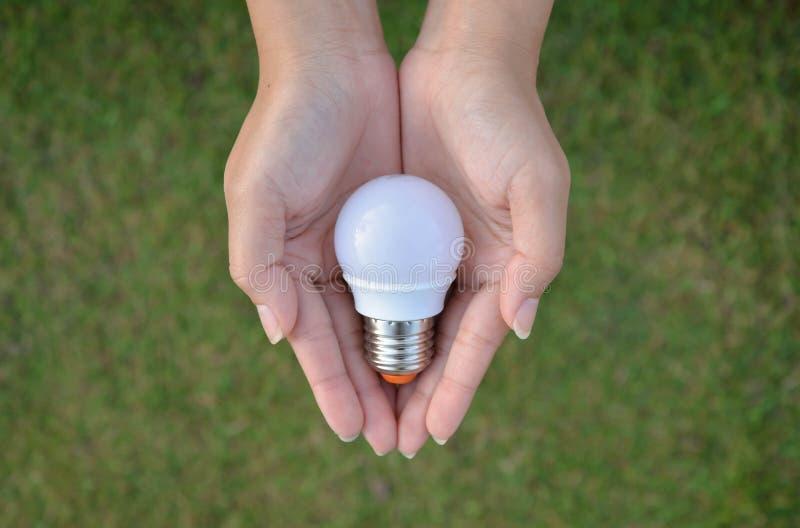 Mini tecnologia da economia do bulbo do diodo emissor de luz em nossa mão imagens de stock