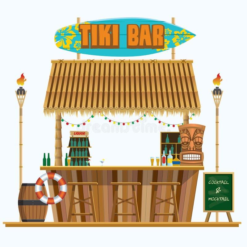 Tropical beach mini tiki bar. Vector of tropical beach mini tiki bar royalty free illustration
