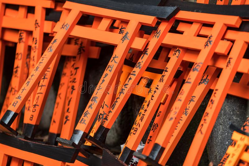 Mini Torii Gates, Fushimi, Inari-Heiligdom, Kyoto royalty-vrije stock foto's