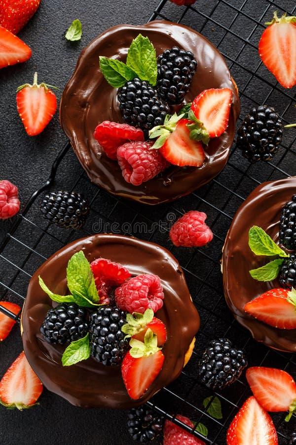 Mini torta di formaggio coperta di cioccolato con l'aggiunta delle bacche fresche: mora, lampone, fragola, ciliegia e menta fotografie stock libere da diritti