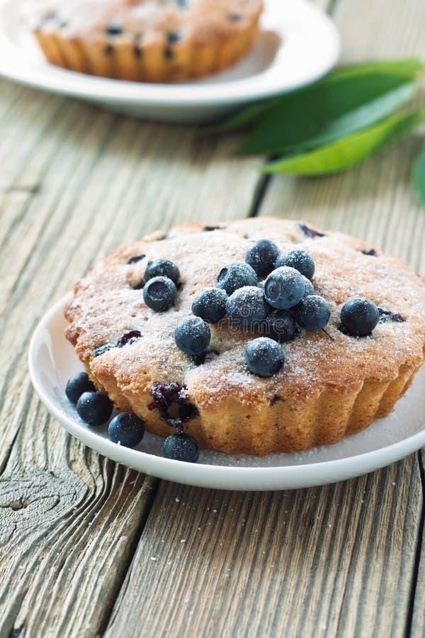 Mini torte di mirtillo fresche casalinghe sul piatto bianco fotografia stock