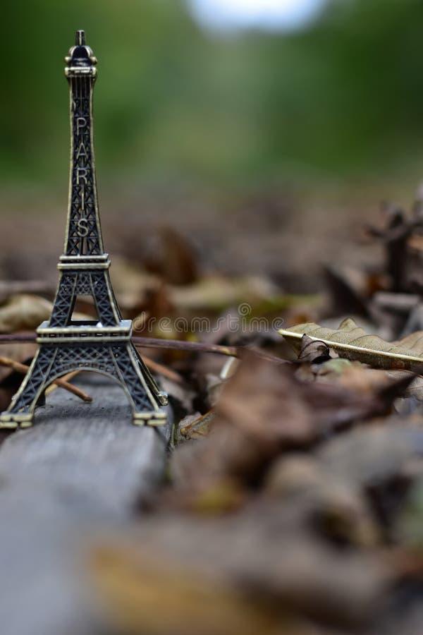 Mini Tour Eiffel couvert de feuilles photo stock