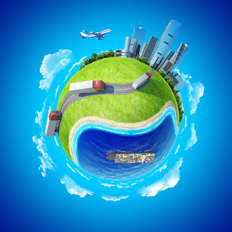 Mini transporte do conceito do planeta ilustração stock